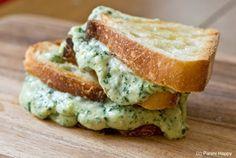 Green Goddess Grilled Cheese: basil, cilantro, garlic, parsley, mozzarella, cream cheese.