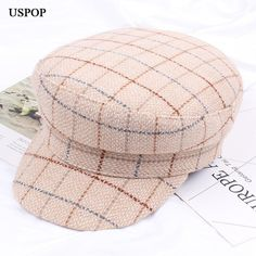 29b909fb1c0 USPOP 2018 Newest fashion women thick winter hat newsboy caps vintage plaid  wool newsboy caps flat top visor caps Octagonal hat.