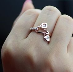 18K Gp Rose Gold Crystal Lock Love Heart Ring 7/8/9 Size A302