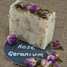 Rose Geranium Soap.   Bring the garden into your home with this heavenly floral soap with its warm romantic scent.  This luxurious bar blends the sweet floral scent of rose with the citrus and woody tones of geranium.  This indulgent blend contains crushed rosehips and hibiscus and is a very popular gift that looks and smells beautiful.
