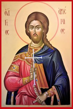 Orthodox icon Saint Artemius, The Great Martyr, At Antioch hand painted icon, Byzantine icon, orthodox gifts, Russian icon, byzantine icon created by Bulgarian artist Georgi Chimev.