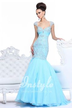 aqua cap sleeve sweetheart trumpet dropped long prom dress with beads embroidered bodice