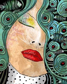Pisces March Birthday Fish Teal Blue Swirls of Water von studio3ten, $20.00