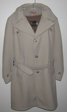 Vintage USA Made Mens 40 Length Khaki Faux fur Lined Trench Coat W/ Belt #Weathercaster #Trench