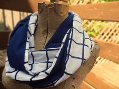 Navy blue and white infinity scarf by PaleDesign on Etsy, $23.00