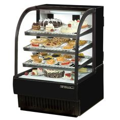 "True TCGR-36 36"" Black Curved Glass Refrigerated Bakery Display Case - 19 Cu. Ft."