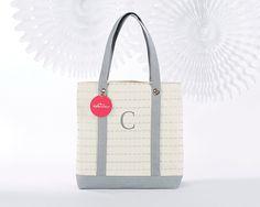 Kate Aspen  Silver Scallop Canvas Tote Bag - Personalization Available