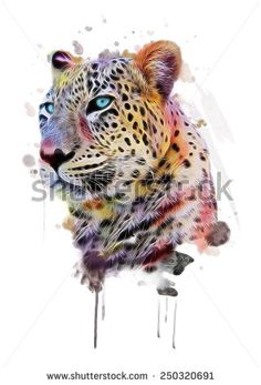 illustration leopard/T-shirt graphics/abstract watercolor like leopard/leopard graphics on a white background/wild leopard hunting/leopard print on canvas Tatuajes Animal Print, White Leopard, Utila, Abstract Watercolor, Watercolor Animals, Watercolor Tattoo, Watercolour, Online Posters, Buy Posters