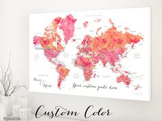 ★ Current turnaround for custom items: please see policies tab or shipping tab ★ ★ This product is an actual printed product, mailed to your home. It is not a digital download ★    Personalized world map canvas print, in your custom color combination, featuring your favorite quote. We can also add, in the left lower corner, a couple names, a baby name, family name + date... Travel lovers idea: you can use this piece as travel pinboard or push pin travel map, displaying the places youve been…