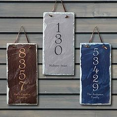 House Number Personalized Slate Address Plaque - looks easy to diy Slate Shingles, Slate Roof, Asphalt Shingles, Leftover Tile, Slate Art, Grey Slate, Painted Slate, Slate Signs, Tile Crafts