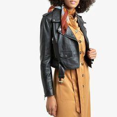 La Redoute Collections Leather cropped Biker Jacket size 6 black colour rrp £210 Reebok, Mode Rock, Leder Boots, Coats For Women, Clothes For Women, Style Rock, Lingerie Accessories, Black, Spring Summer