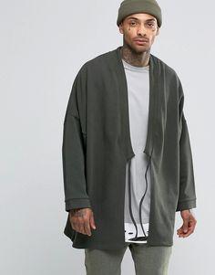 Image 1 ofASOS Longline Kimono With Tie Front