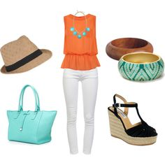 Orange & Aqua, created by kateanfinson on Polyvore