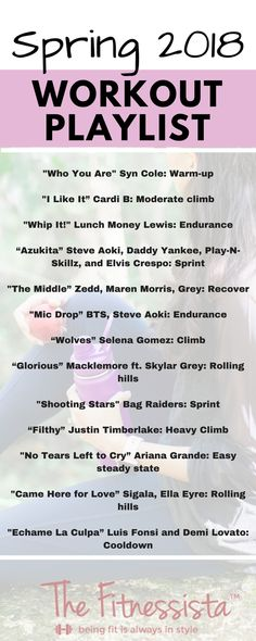 This spring workout playlist + cardio workout is the perfect way to take the dread out of the treadmill. Lots of new and upbeat songs here, along with cardio suggestions to make the workout fly by. fitnessista.com #spring2018workoutplaylist #workoutplaylist #treadmillworkout