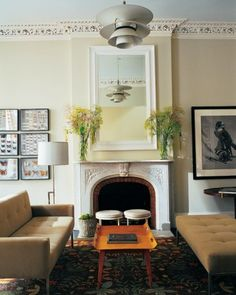 Martha Stewart editorial director Gael Towey and her designer husband create a family home with loads of personal touches in New York City. My Living Room, Home And Living, Living Room Decor, Living Spaces, Interior Design Vocabulary, Family Room, Home And Family, Love Home, Victorian Homes