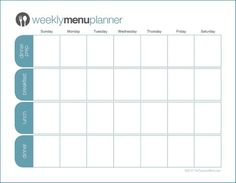 Click To Print Tpm Customizable Two Week Menu Planner  Weekly
