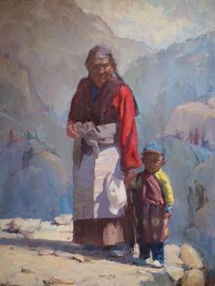 Barry John Raybould, figurative painting, Just Grandma and Me, Tibet