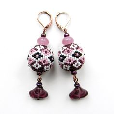 Purple and White  Seed Bead Earrings  - beaded jewelry,  beaded beads. $23.00, via Etsy.