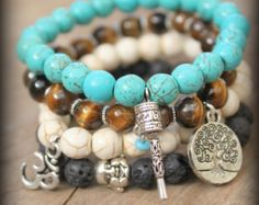 Elastic Yoga beaded stackable stretch bracelet Free people style Spirtual Hindu Ethnic Bohemian Om buddha Tree of life Prayer wheel charms