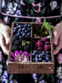 Purple, Plum, and Berry Food Display Yummy Recipes, Healthy Recipes, Healthy Food, Dessert Recipes, Fruit And Veg, Fruits And Vegetables, Fruit Box, Food Art, Food Food