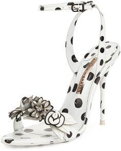 Sophia Webster Lilico Floral Polka-Dot Sandal, Black/White