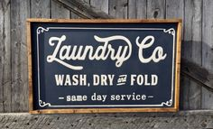 If one MUST do laundry, it may as well be done with style. This Farmhouse Style Laundry Room sign is perfectly has a slightly distressed pewter grey background, and vintage white words engraved into the sign. Completed with a rustic frame. 31x19