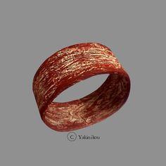 """Bracelet """"écriture écarlate""""  8,5 x 3,5 cm intérieur 7,7 cm"""