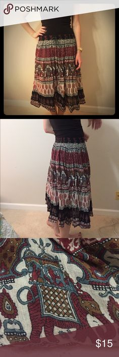 Bohemian style Elephant maxi skirt Bohemian style, boutique maxi skirt with elephant print. Size small with elastic waistband. In perfect condition, only thing missing is the wrapping of one end of the draw string (pictured) Furst of a Kind Skirts Maxi
