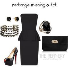 """Evening outfit for Rectangle Body Shape"" by therefinery on Polyvore"