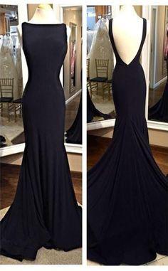 Charming Prom Dress,Sabrina Prom Dress,Backless Prom Dress,Chiffon Prom Dress,Mermaid Evening Dress,black prom dresses,open back cocktail dresses,evening gown