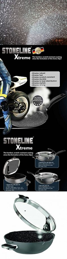 "Germany's Stoneline Xtreme Series Non-stick Non-Toxic Stone Coating Cookware 12.8"" Wok - 2016 Top of the line model, better taste food"