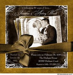 Golden Anniversary invites (like the black/white on the gold) - not necessarily the ribbon
