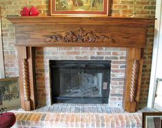 Custom Ornate Fireplace Surround Mantel with Corbels. I like but without the carving of leaves and such on the top center and without the twisted pole on each sides, Fireplace Mantel Surrounds, Wood Fireplace Mantel, Fireplace Design, Tudor Style Homes, Craftsman Style, Custom Wood, Custom Homes, Home Furnishings, Family Room