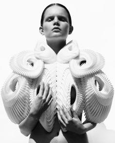Fashion as Art - wearable sculpture with complex 3D structure; architectural fashion design // Iris Van Herpen Haute Couture