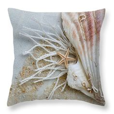 Ocean Treasures Throw Pillow by Micki Findlay - TheSingingPhotographer.com - various sizes, home decor, cushion, beach decor, starfish, seashell, nautical