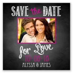 Chalkboard Love Photo - Begonia - Save the Date Magnet