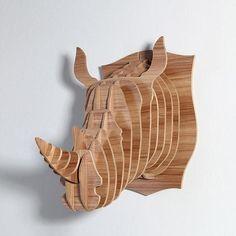 HANDMADE Wooden Rhino