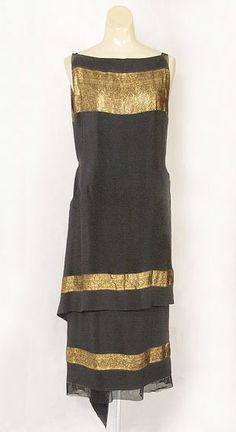 Callot Soeurs black silk crepe evening dress with bands of Oriental patterned gold lamé, c.1924, from the Vintage Textile archives.