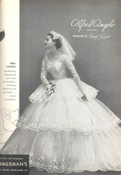 An Alfred Angelo original designed by Edythe Vincent, vintage designer fashion bride ad from 1955 Wedding Dress Trends, Dream Wedding Dresses, Wedding Attire, Wedding Gowns, Vintage Wedding Photos, Vintage Bridal, Vintage Gowns, Vintage Outfits, Bridal Style