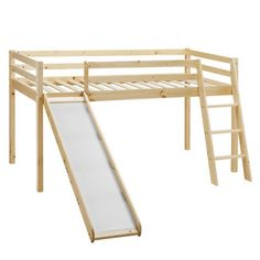 Bilbarin Single Standard Bed Just Kids Colour: Natural Mid Sleeper With Slide, Toddler Bed With Slide, Triple Sleeper Bunk Bed, Toddler Bed Frame, Mid Sleeper Bed, Cabin Bed With Storage, Bunk Beds With Storage, Cool Bunk Beds, Kid Beds