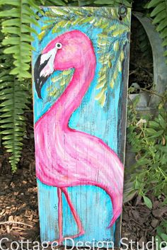 pink flamingo sign painting pink flamingos by CottageDesignStudio