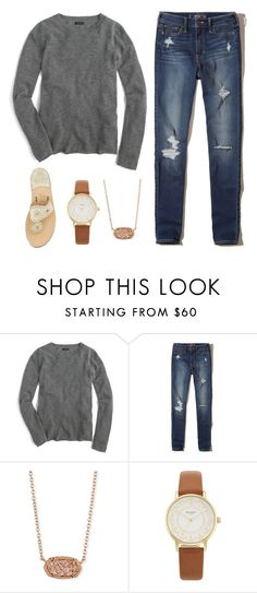 """""""Ootd"""" by nc-preppy ❤ liked on Polyvore featuring J.Crew, Hollister Co., Kendra Scott, Kate Spade and Jack Rogers"""