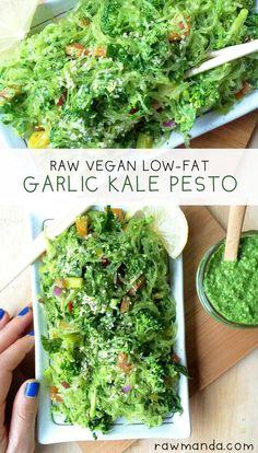 Kelp Noodles + Garlic Kale Pesto Sauce - A delicious low-fat raw vegan recipe that uses an amazing gluten-free pasta alternative.