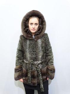Real Astrakhan Fur with Mink Fur JacketReal by FilimegasFurs Mink Colour, Mink Fur, Fur Coat, Winter Jackets, Coats, Sleeves, Model, Fashion, Jackets