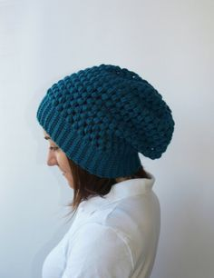 Petrol Slouchy Hat Crochet Hat Womens Slouchy Hat in by elenis4you, $24.00