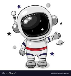Cartoon astronaut isolated on a white background. Cute Cartoon astronaut isolated on a white background vector illustration Astronaut Cartoon, Astronaut Drawing, Astronaut Illustration, Astronaut Party, Astronaut Images, Space Party, Space Theme, Caricature, Doodle Art