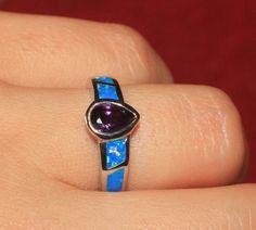 blue fire opal Amethyst ring Gemstone silver jewelry Sz 7 modern wedding F7KA