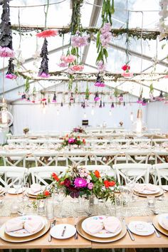 www.firstclassfunctions.com.au, marquee, hanging flowers, wedding, reception, table setting