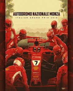 Unofficial Ferrari poster for the 2018 Italian Grand Prix at Monza features Kimi Räikkönen in his Ferrari Räikkönen's best finishes for Ferrari at Monza were in 2007 and Indy Car Racing, Indy Cars, Italian Grand Prix, Benz Car, Ferrari F1, Formula One, Retro, Nova, Cars