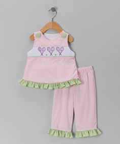 Take a look at this Pink Tennis Smocked Tank & Pants - Girls by Sweet Teas Children's Boutique on #zulily today!